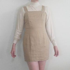 Nasty Gal Tan Linen Sleeveless Mini Dress